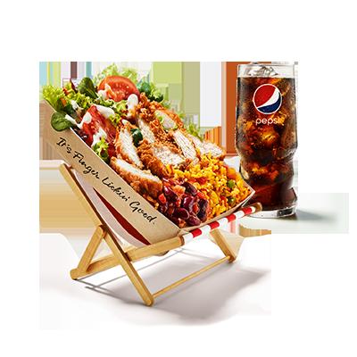 <p>Un goût 100% KFC mais avec seulement 500 calories? Notre petite nouvelle l'a fait!</p> <p>La Ricebox est déjà une star dans l'univers KFC: elle se caractérise  par une base de riz TexMex avec une sauce salsa épicée et de salade  croquante accompagnée d'une vinaigrette légère à l'ail. Au-dessus, on  trouve soit un filet original – pour ceux qui l'aiment classique – soit  un filet Zinger – pour ceux qui aiment l'épicé. Un grand soda te permet  de garder la tête froide même à des températures élevées.</p> <p>Qu'est-ce que tu attends?</p>
