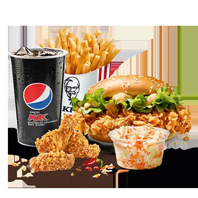 <p>Découvre maintenant le Zinger Burger super épicé dans la Burger Box :  le Zinger Burger avec du poulet 100% suisse et 3 Hot Wings en prime,  sous forme épicée grâce à notre marinade hot &amp; spicy, une portion de  salade coleslaw, une grande portion de frites et un soda.</p>
