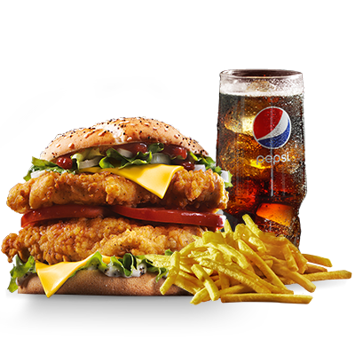 <p> BIG. BIGGER. BIG B.O.S.S! Das neueste Mitglied unserer KFC Familie macht seinem Namen alle Ehre: Denn nicht nur eine, sondern gleich zwei knusprig-zarte Filets von unserem finger lickin' good Chicken treffen hier auf Colonel Sanders' einzigartige B.O.S.S BBQ Sauce! Und das ist noch nicht alles - zwei Scheiben leckerer Cheddar Käse, zwei saftige Tomatenscheiben, reichlich knackiger Eisbergsalat und feine Zwiebelwürfel sorgen für ein großartiges Geschmackserlebnis! Im Menü mit einer großen Portion Pommes frites und einem Softdrink Deiner Wahl. Jetzt neu und nur bei KFC!</p>