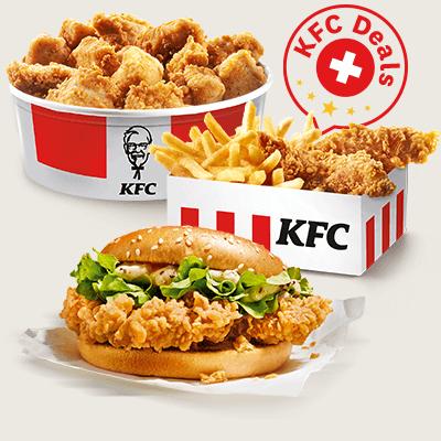 Les Petits prix KFC offrent tout ce qui enchante les amateurs de snacks – et à petit prix. À commencer par les deux box KFC Petit prix contenant 3 Hot Wings ou 2 Crispys, avec une petite portion de frites dans les deux cas, pour seulement 4,90 CHF, ou pour les amis des Burgers le Menu Double Crunch pour seulement 8,90 CHF. Et si vous avez un peu faim à deux, vous pouvez sélectionner un de nos trois Buckets Chick & Share pour seulement 19,90 CHF: quand on est deux, les Filet Bites, Hot Wings ou Crispys ont encore meilleur goût!