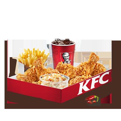 Preferisci qualcosa di più piccante? Questa box contiene 9 alette di  pollo dalla gustosa panatura croccante, marinate secondo la ricetta Hot  & Spicy. Nella box sono incluse anche una porzione media di insalata  di cavolo, una porzione grande di patatine fritte e una bevanda  analcolica a tua scelta.