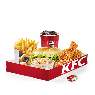 Puoi scegliere se provare un Filet Burger delicatamente speziato, preparato secondo la ricetta originale o uno zinger piccante. Inoltre, la box contiene: tre Hot Wings e le nostre alette di pollo piccanti con marinatura Hot & Spicy e panatura croccante. Insieme alla box riceverai una porzione media di insalata di cavolo, una porzione grande di patatine fritte e una bevanda analcolica a tua scelta.