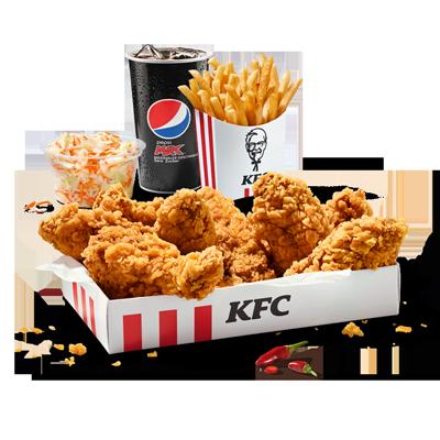 Une envie d'épices bien fortes? Cette boîte contient neuf ailes de  poulet panées croustillantes et bien épicées dans leur marinade Hot  & Spicy. Pour compléter, une portion moyenne de coleslaw, une grande  frite et la boisson sans alcool de votre choix.