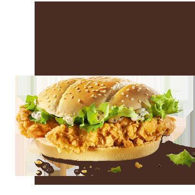 Ti presentiamo: il Double Crunch Burger. Gusta due Crispy dalla  deliziosa panatura croccante preparati con filetto di pollo al 100%,  insalata iceberg croccante e salsa al pepe cremosa e speziata su un  panino di frumento tostato.
