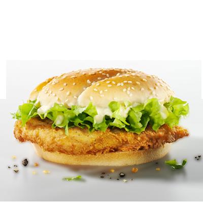 Se hai fame ecco quello che fa per te: il Filet Burger con filetto di  petto di pollo impanato e delicatamente speziato secondo la ricetta  originale con undici erbe e spezie. Questo succoso filetto lo serviamo  in un panino di frumento tostato arricchito con insalata iceberg  croccante e salsa piccante per burger.