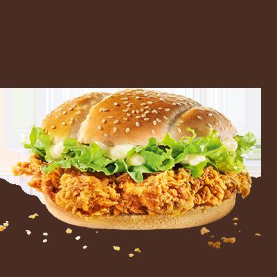 Il massimo della piccantezza: lo Zinger Burger viene preparato con il  petto di pollo più delicato, marinato e impanato secondo la nostra  ricetta Hot & Spicy e con un panino di frumento farcito con insalata  iceberg croccante e una deliziosa salsa per burger.