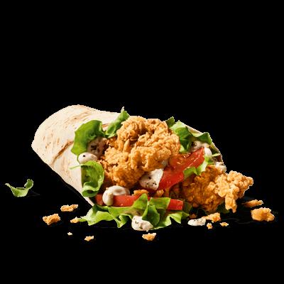 Dans ce wrap, deux lamelles de filet de poulet fraîchement panées à la  main et frites de manière à devenir bien croustillantes régalent vos  papilles, accompagnées de salade iceberg croquante, de tomates fraîches  et d'une sauce au poivre aromatique. Si vous le souhaitez, vous pouvez  ajouter du fromage dans votre Twister.