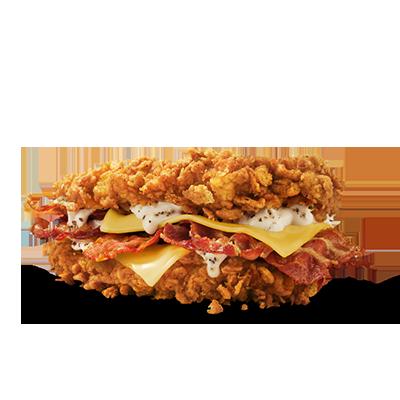 <p>Das Warten hat sich gelohnt, denn den legendären Double Down gibt es jetzt endlich auch in der Schweiz! Hier kommt jeder Poulet-Lover auf seine Kosten, denn unser einzigartiger Double Down kommt ganz ohne Buns aus. Dieses Meisterwerk eines Burgers besteht aus zwei knusprigen Poulet-Filets, zwei Scheiben Monterey Jack Käse*, vier Baconstreifen und der einzig wahren Double Down Sauce.<br /><sub>*Schmelzkäsezubereitung</sub></p>