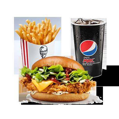 <p>Légendaire et complet! &nbsp;<br />OhMyGourmet! Ce sandwich a tout ce qu'il  faut: un filet de poulet unique selon la recette originale du Colonel  Sanders, une sauce BBQ douce et fumée, une sace au poivre délicate, de  la salade fraîche et des oignons rouges. Cette succulente expérience  gustative est complétée par du cheddar et un délicieux pain brioché.</p>