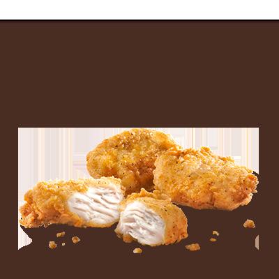 Bocconcini di filetto deliziosi e succosi preparati con filetti di pollo  al 100%, impananti e delicatamente speziati secondo la ricetta  originale. A seconda del tuo appetito puoi ordinare una porzione con 6, 9  o 16 bocconcini di filetto. Nell'offerta è inclusa una anche una  deliziosa salsa a tua scelta.